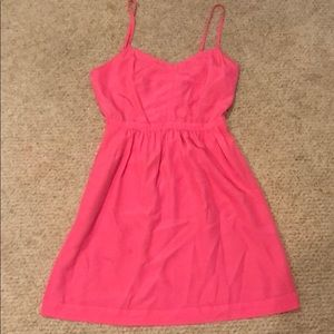 Bright pink J. Crew spaghetti strap dress. Size 0.